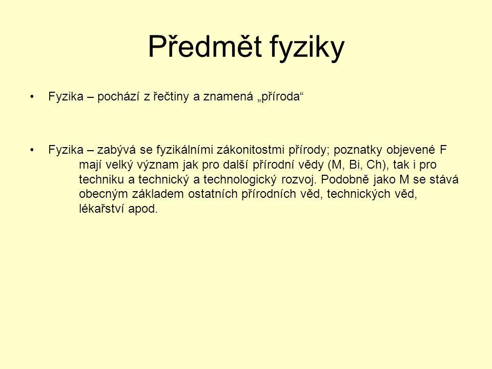 """Předmět fyziky Fyzika – pochází z řečtiny a znamená """"příroda"""