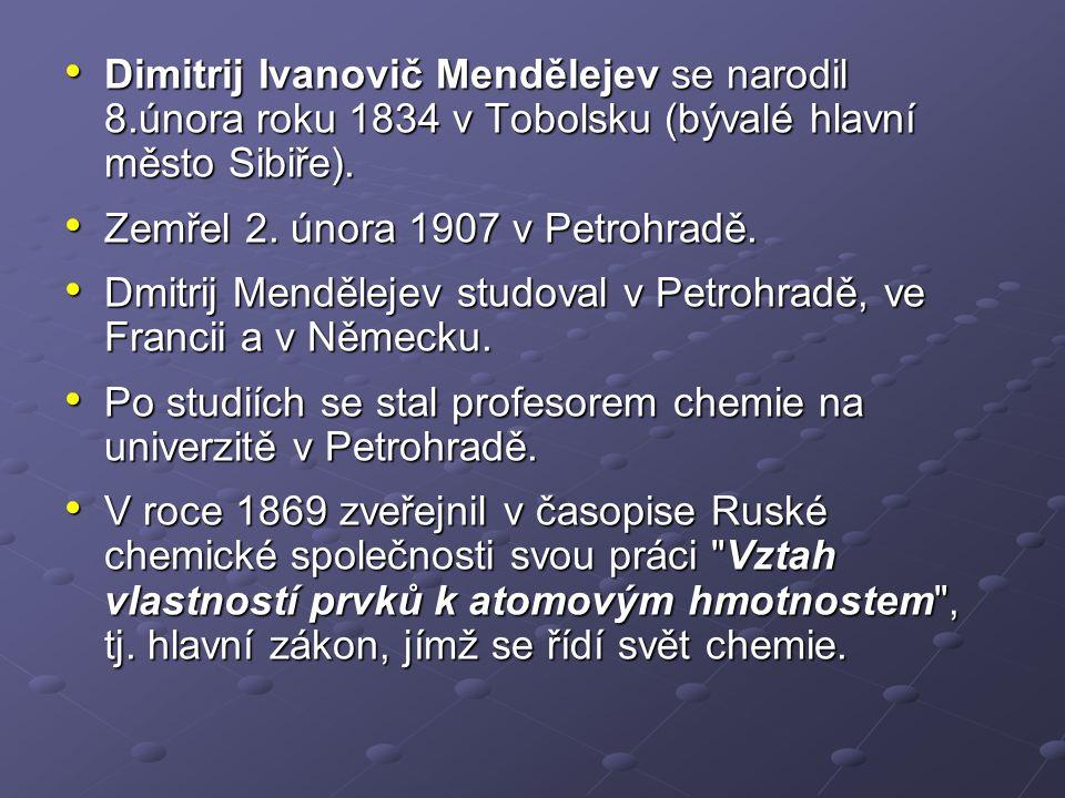 Dimitrij Ivanovič Mendělejev se narodil 8