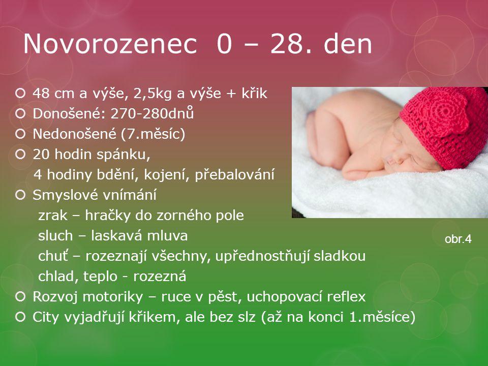 Novorozenec 0 – 28. den 48 cm a výše, 2,5kg a výše + křik