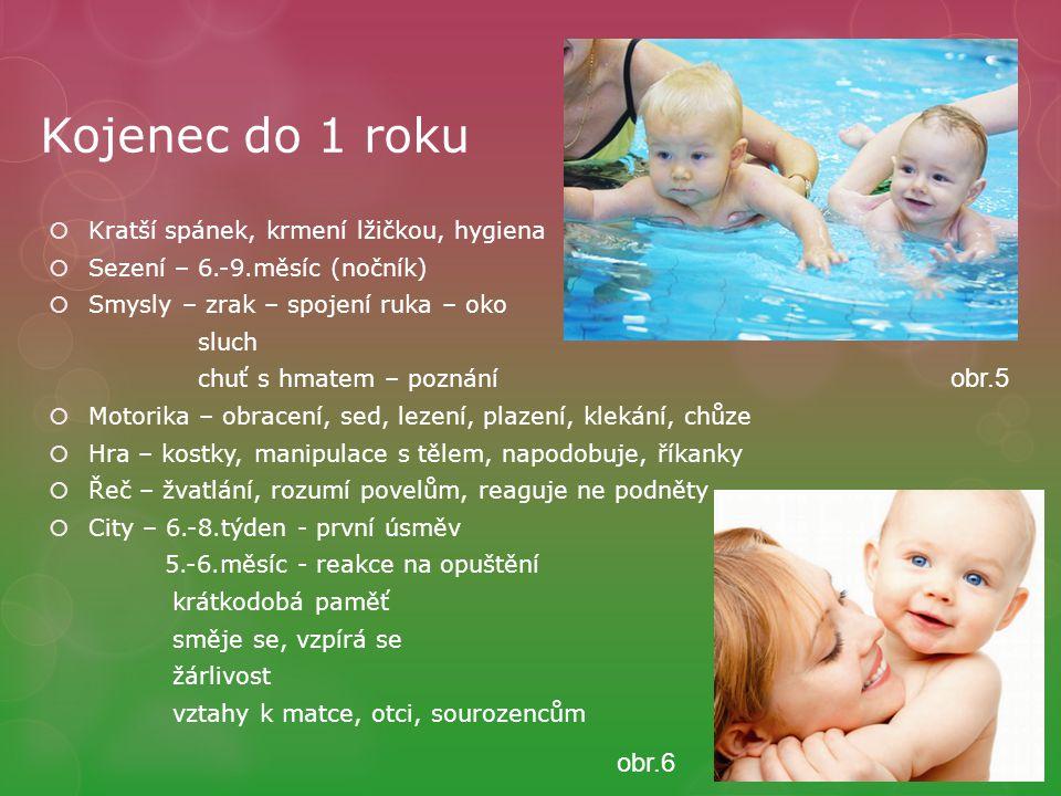 Kojenec do 1 roku obr.5 obr.6 Kratší spánek, krmení lžičkou, hygiena