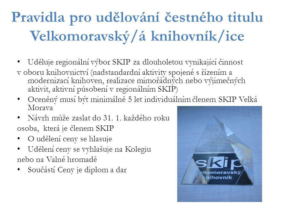 Pravidla pro udělování čestného titulu Velkomoravský/á knihovník/ice