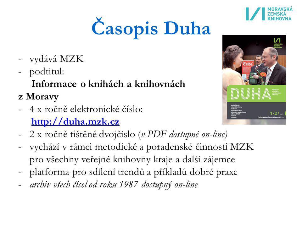 Časopis Duha vydává MZK podtitul: Informace o knihách a knihovnách
