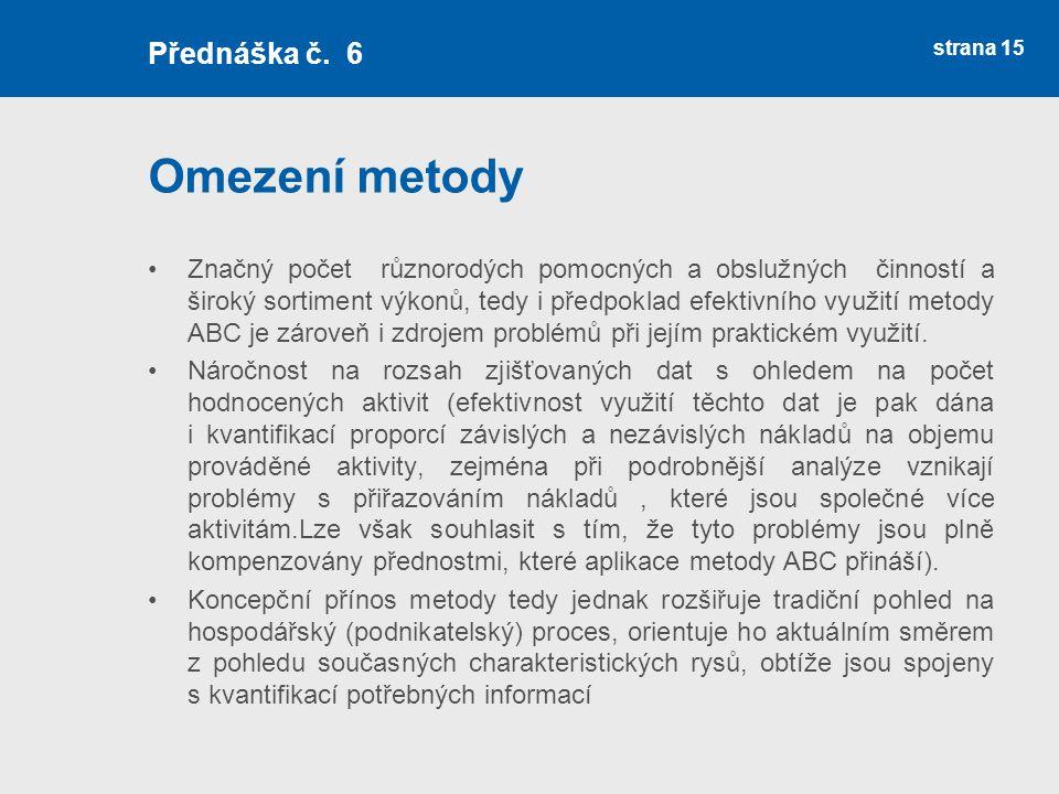 Omezení metody Přednáška č. 6