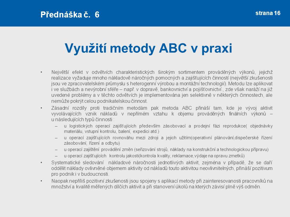 Využití metody ABC v praxi
