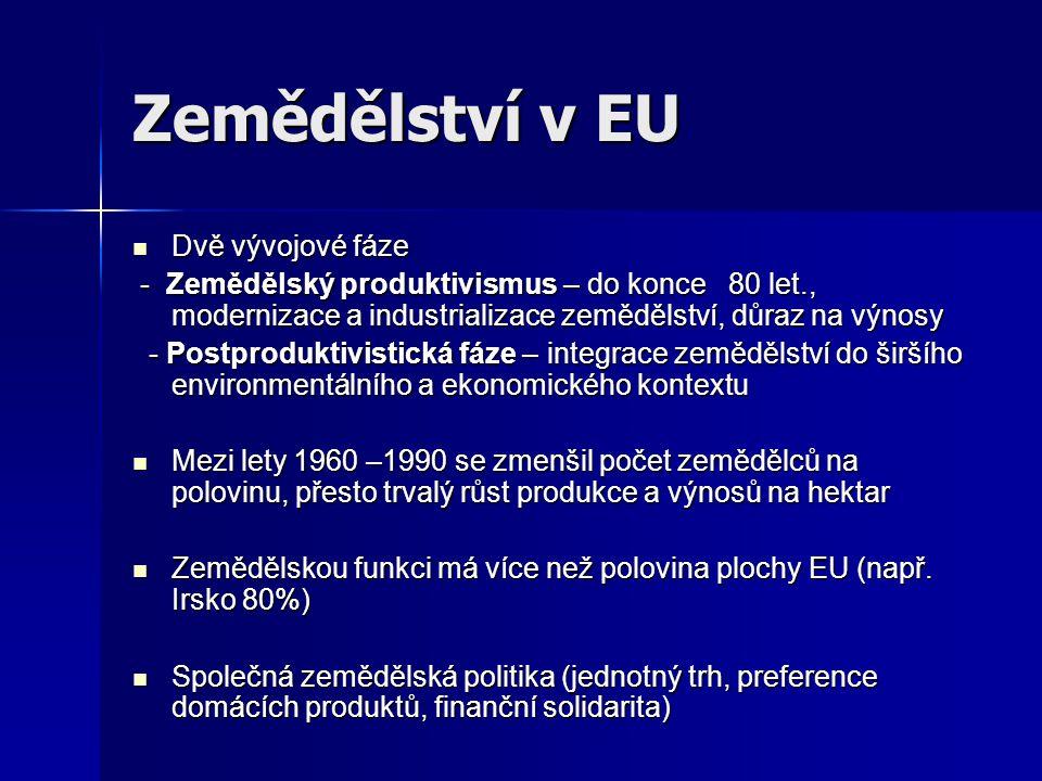 Zemědělství v EU Dvě vývojové fáze