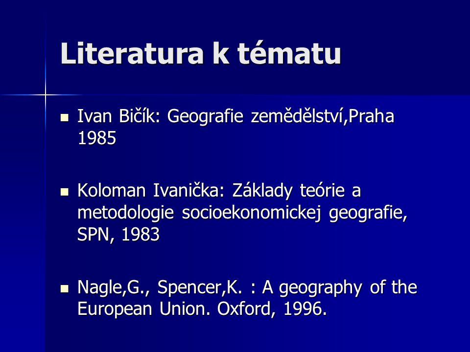 Literatura k tématu Ivan Bičík: Geografie zemědělství,Praha 1985