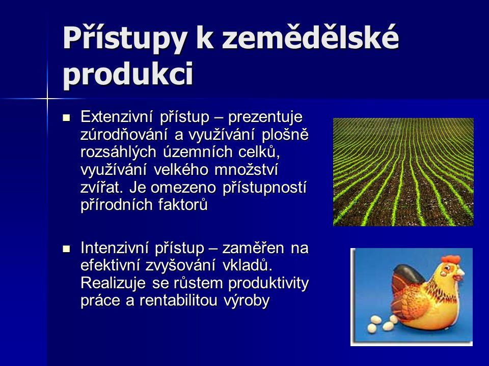 Přístupy k zemědělské produkci