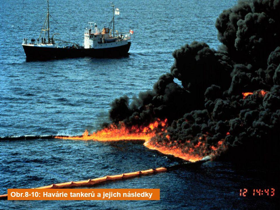 Obr.8-10: Havárie tankerů a jejich následky