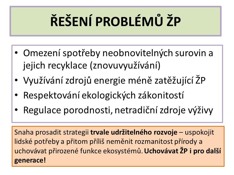 ŘEŠENÍ PROBLÉMŮ ŽP Omezení spotřeby neobnovitelných surovin a jejich recyklace (znovuvyužívání) Využívání zdrojů energie méně zatěžující ŽP.