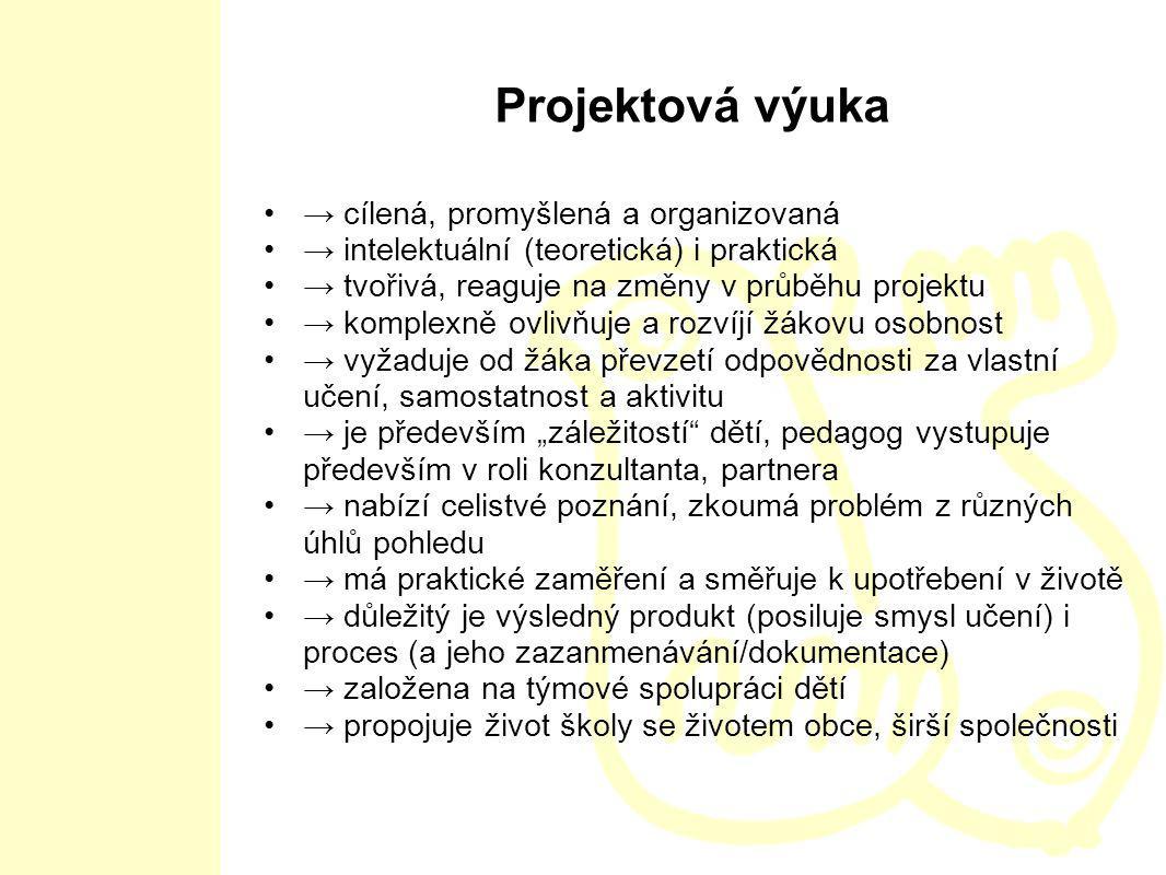 Projektová výuka → cílená, promyšlená a organizovaná