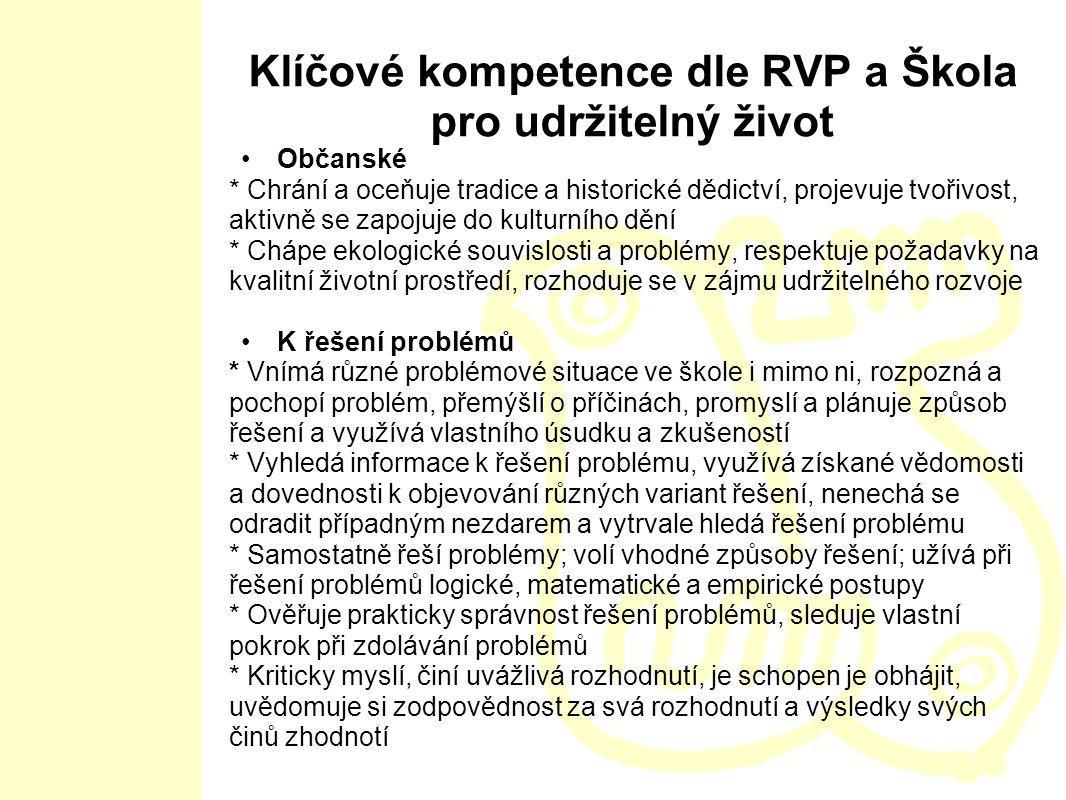 Klíčové kompetence dle RVP a Škola pro udržitelný život