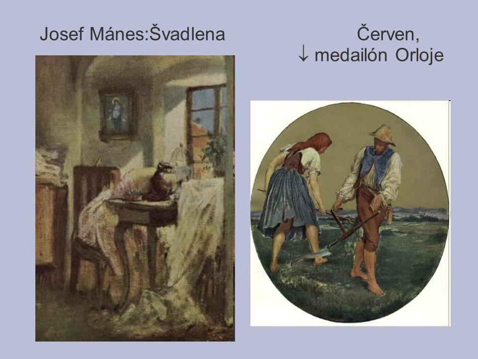 Josef Mánes:Švadlena Červen,  medailón Orloje