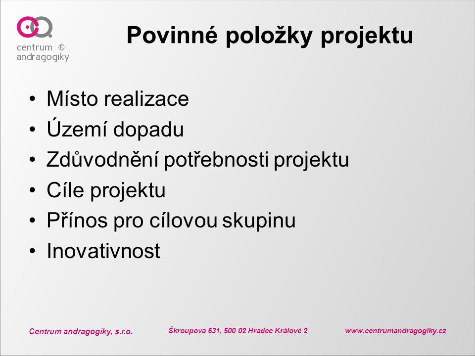Povinné položky projektu