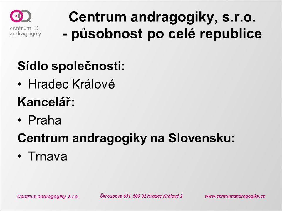 Centrum andragogiky, s.r.o. - působnost po celé republice