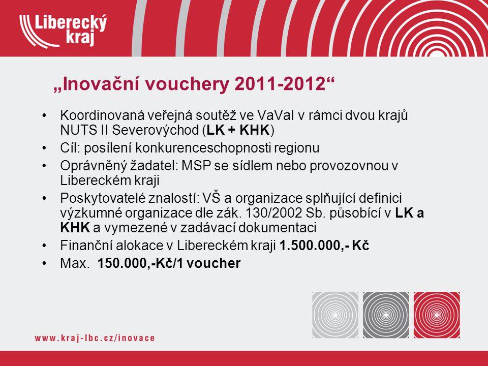 """""""Inovační vouchery 2011-2012 Koordinovaná veřejná soutěž ve VaVaI v rámci dvou krajů NUTS II Severovýchod (LK + KHK)"""