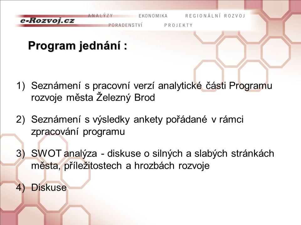 Seznámení s pracovní verzí analytické části Programu rozvoje města Železný Brod
