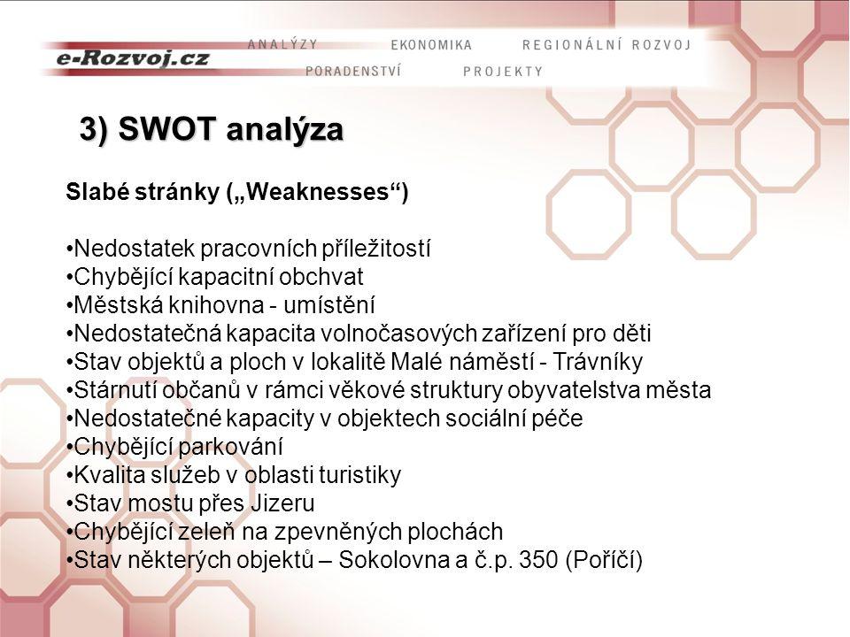 """3) SWOT analýza Slabé stránky (""""Weaknesses )"""