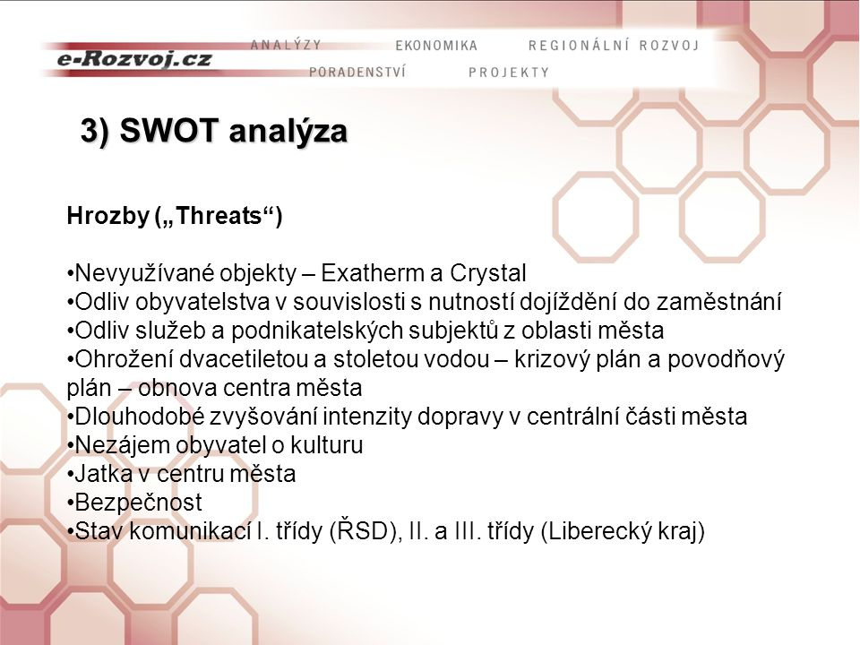 """3) SWOT analýza Hrozby (""""Threats )"""