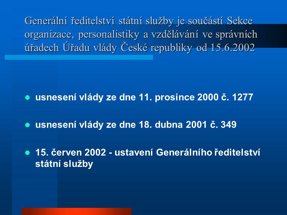 Generální ředitelství státní služby je součástí Sekce organizace, personalistiky a vzdělávání ve správních úřadech Úřadu vlády České republiky od 15.6.2002
