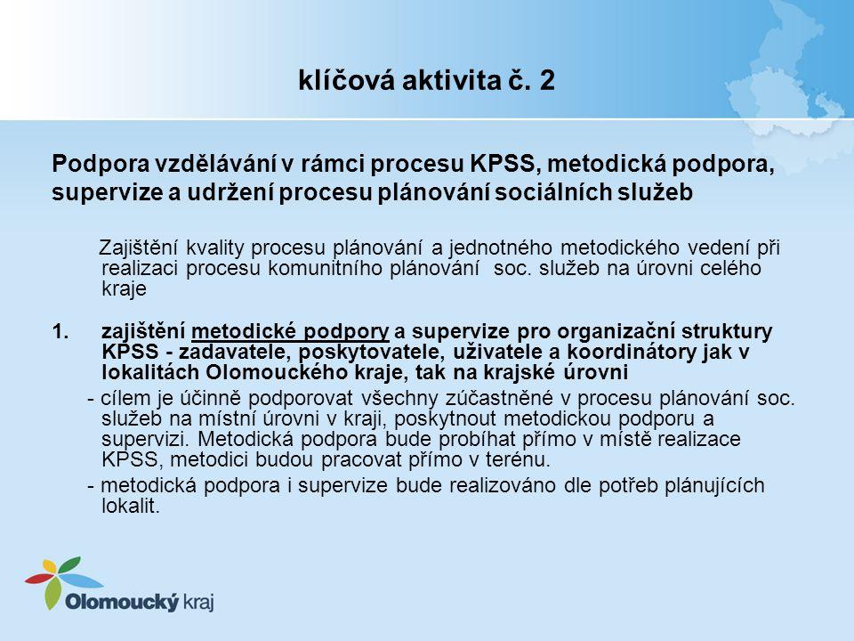 klíčová aktivita č. 2 Podpora vzdělávání v rámci procesu KPSS, metodická podpora, supervize a udržení procesu plánování sociálních služeb.