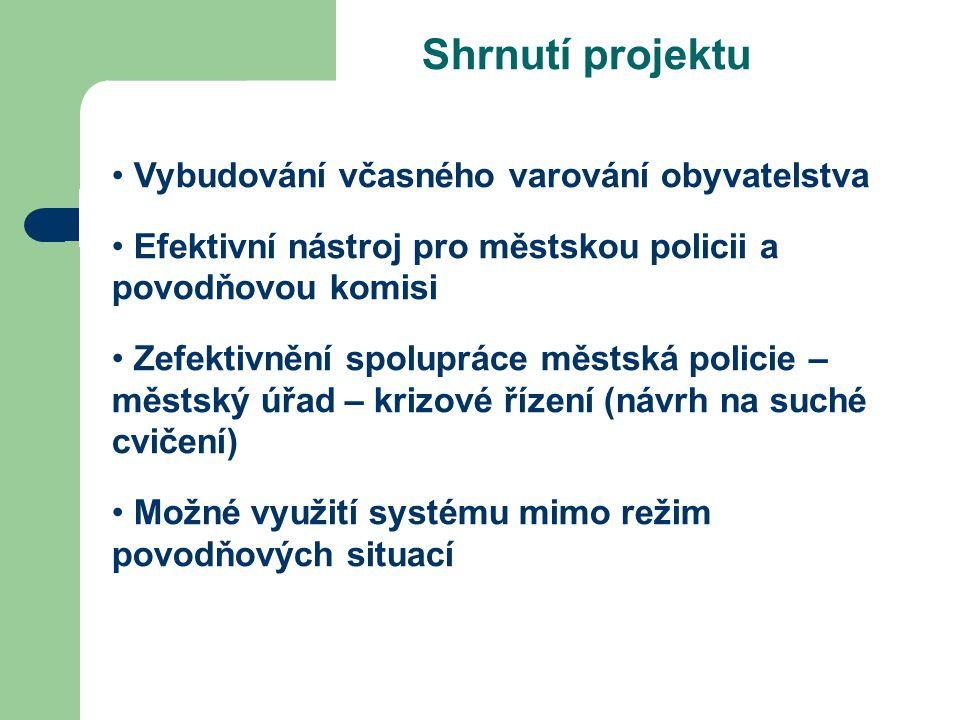 Shrnutí projektu Vybudování včasného varování obyvatelstva