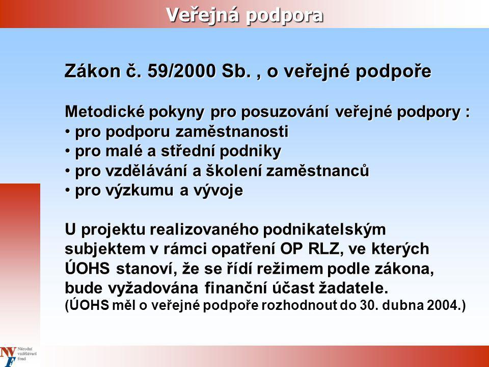 Zákon č. 59/2000 Sb. , o veřejné podpoře