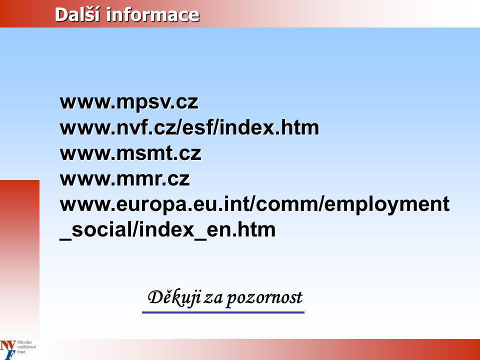 www.mpsv.cz www.nvf.cz/esf/index.htm www.msmt.cz www.mmr.cz
