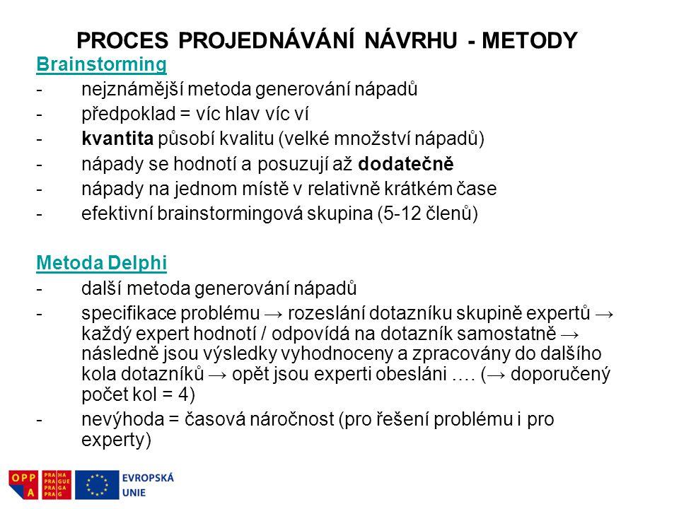 PROCES PROJEDNÁVÁNÍ NÁVRHU - METODY