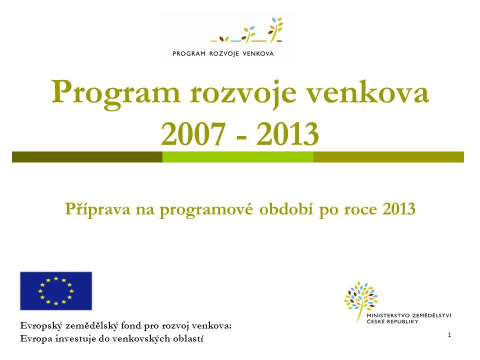 Program rozvoje venkova 2007 - 2013 Příprava na programové období po roce 2013
