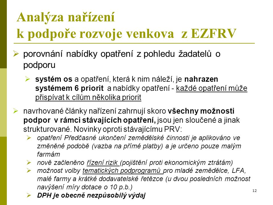 Analýza nařízení k podpoře rozvoje venkova z EZFRV