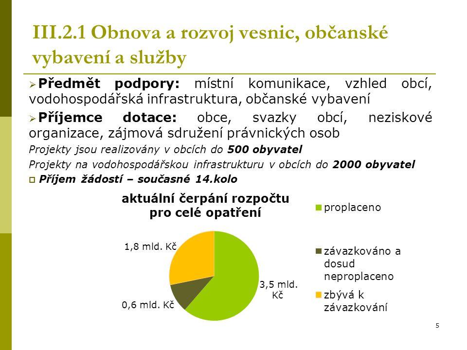 III.2.1 Obnova a rozvoj vesnic, občanské vybavení a služby