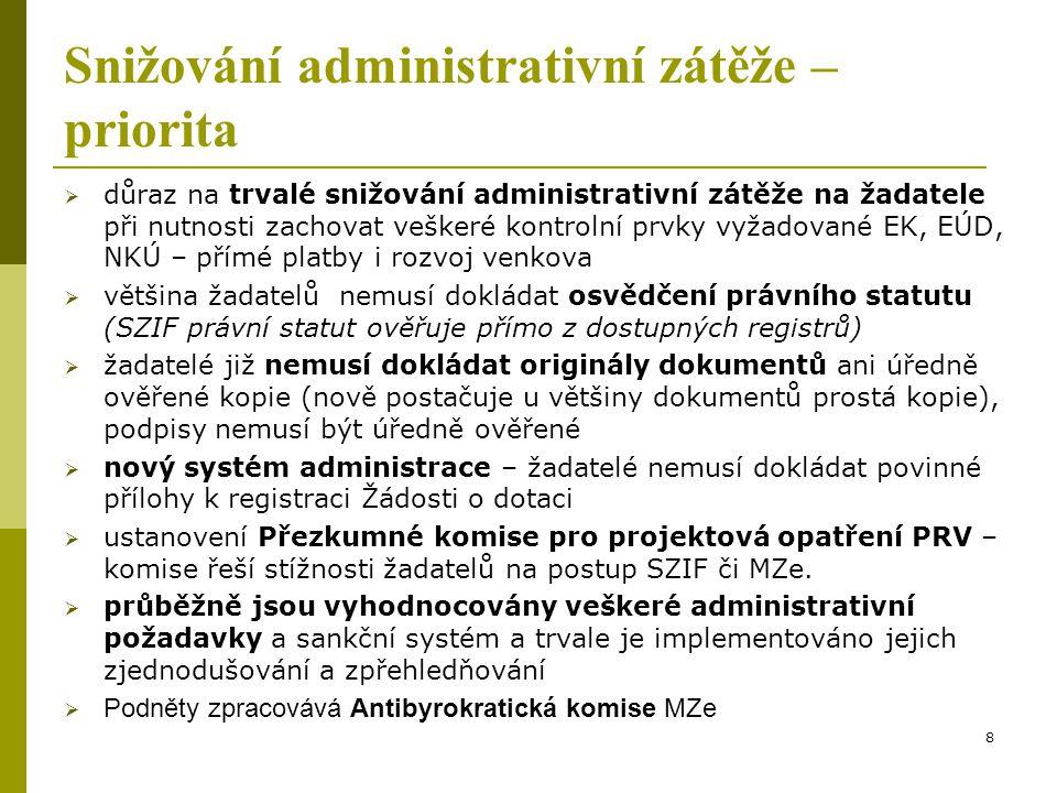 Snižování administrativní zátěže –priorita