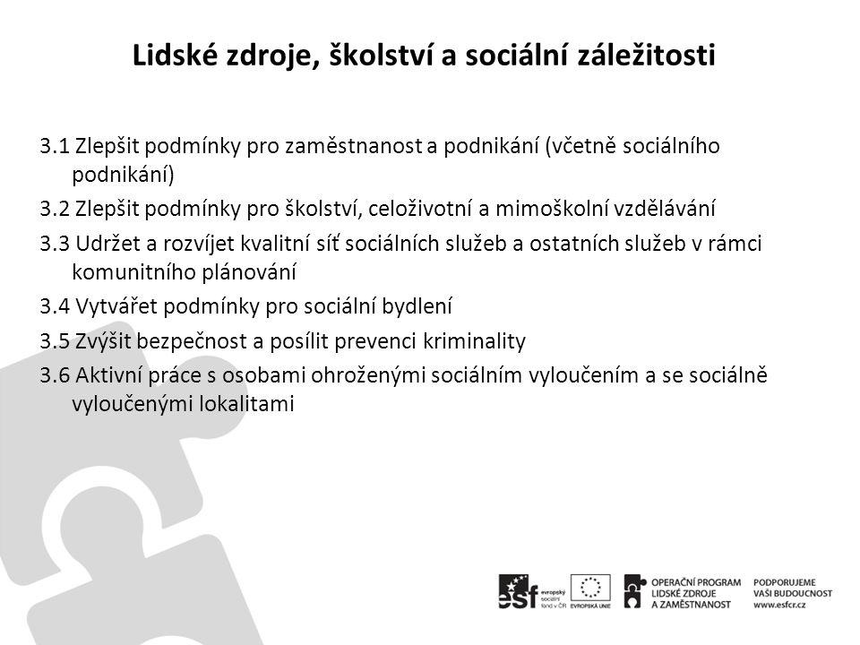 Lidské zdroje, školství a sociální záležitosti