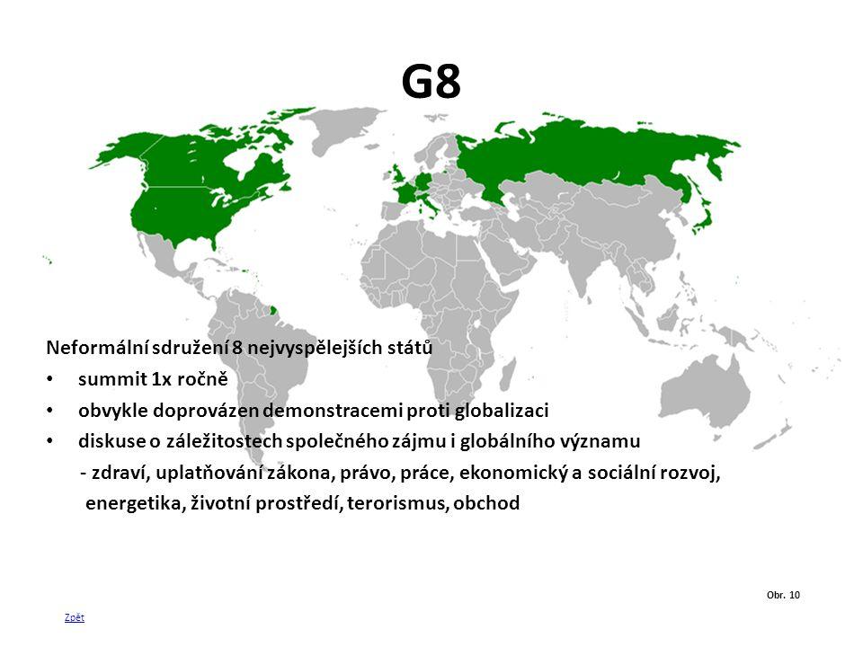 G8 Neformální sdružení 8 nejvyspělejších států summit 1x ročně