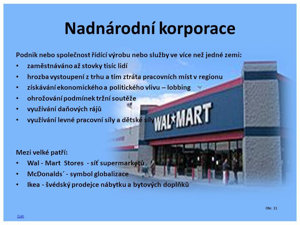 Nadnárodní korporace Podnik nebo společnost řídící výrobu nebo služby ve více než jedné zemi: zaměstnáváno až stovky tisíc lidí.