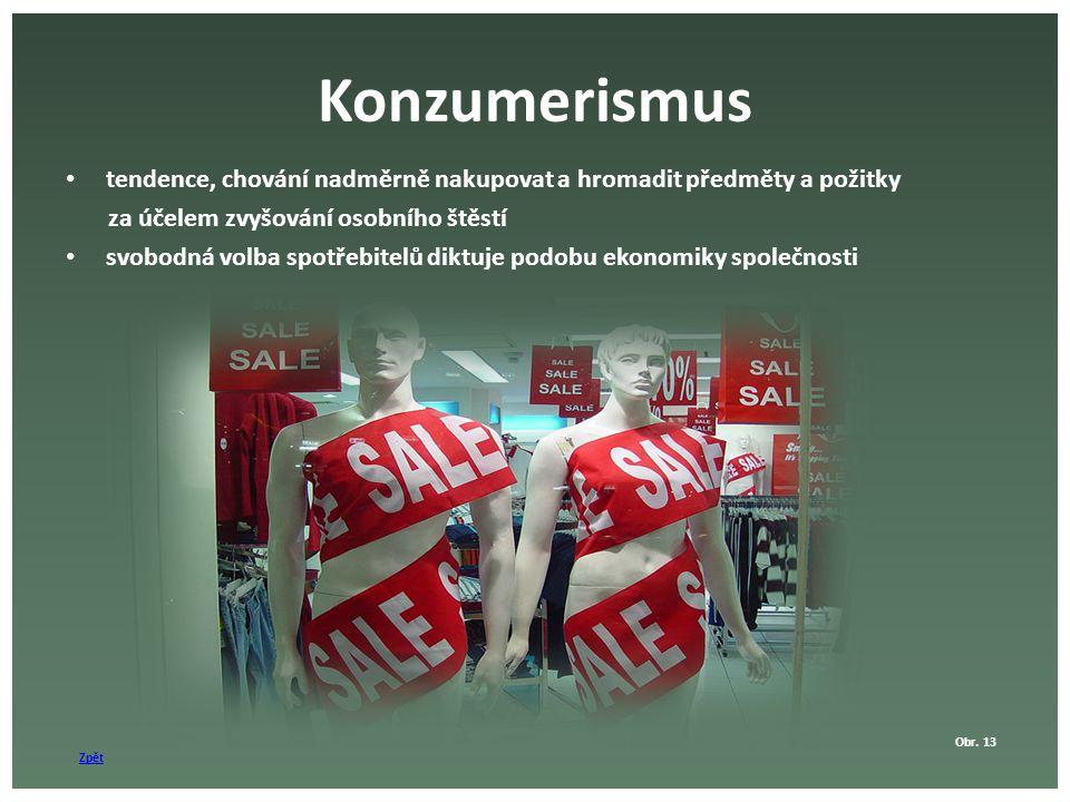 Konzumerismus tendence, chování nadměrně nakupovat a hromadit předměty a požitky. za účelem zvyšování osobního štěstí.