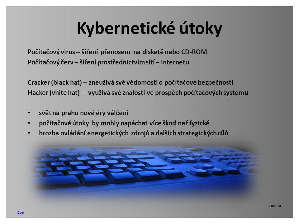 Kybernetické útoky Počítačový virus – šíření přenosem na disketě nebo CD-ROM. Počítačový červ – šíření prostřednictvím sítí – internetu.