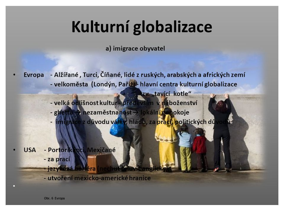 Kulturní globalizace a) imigrace obyvatel