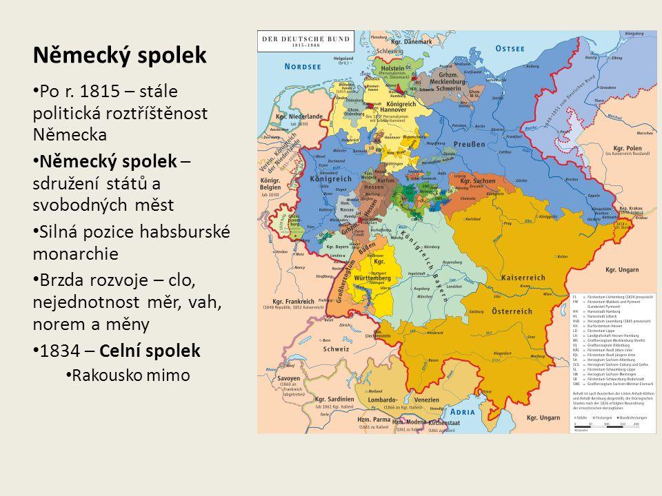 Německý spolek Po r. 1815 – stále politická roztříštěnost Německa