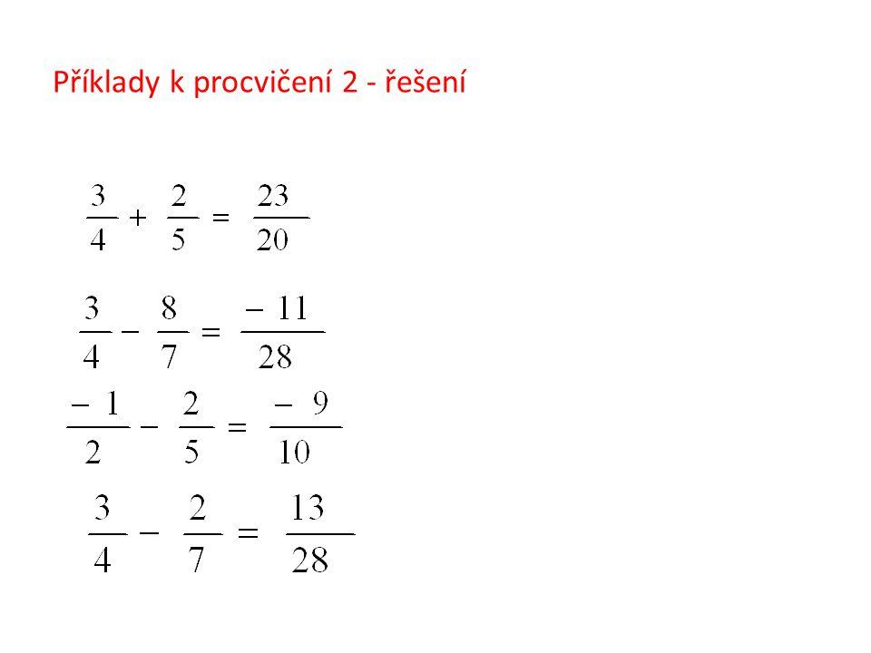 Příklady k procvičení 2 - řešení