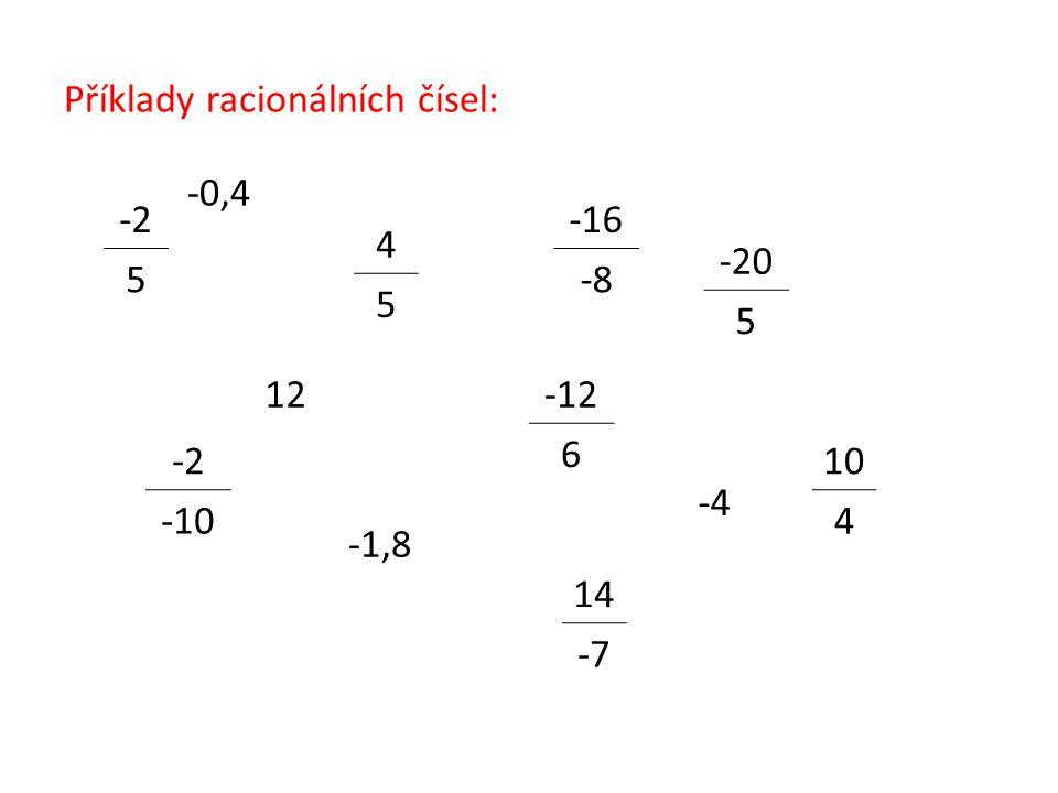 Příklady racionálních čísel: