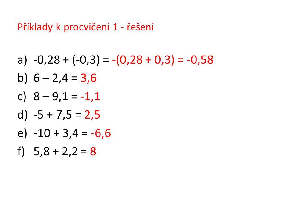 Příklady k procvičení 1 - řešení
