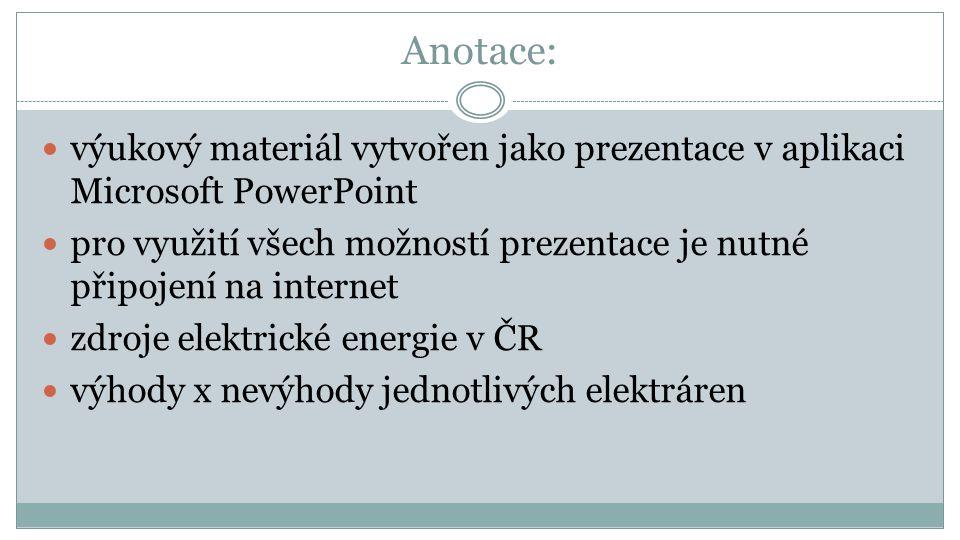 Anotace: výukový materiál vytvořen jako prezentace v aplikaci Microsoft PowerPoint.
