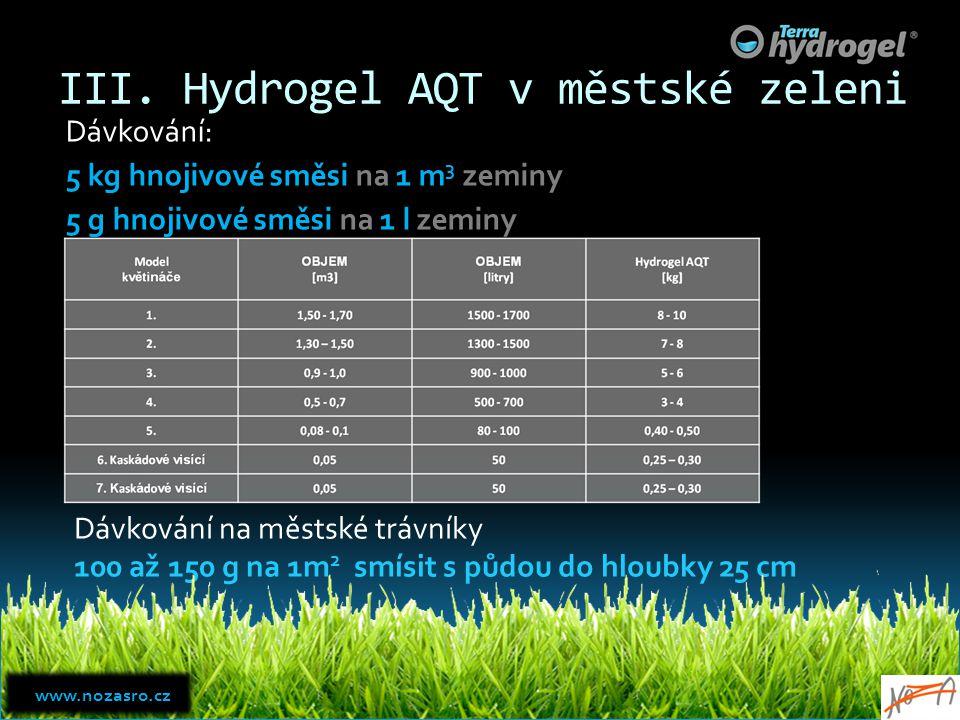 III. Hydrogel AQT v městské zeleni