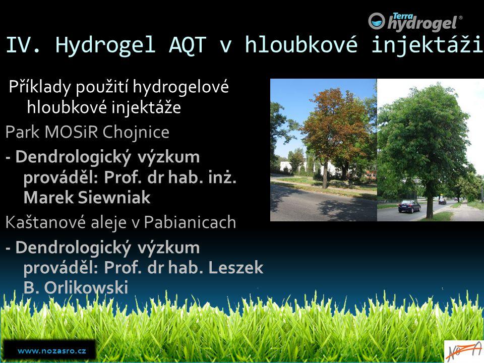 IV. Hydrogel AQT v hloubkové injektáži