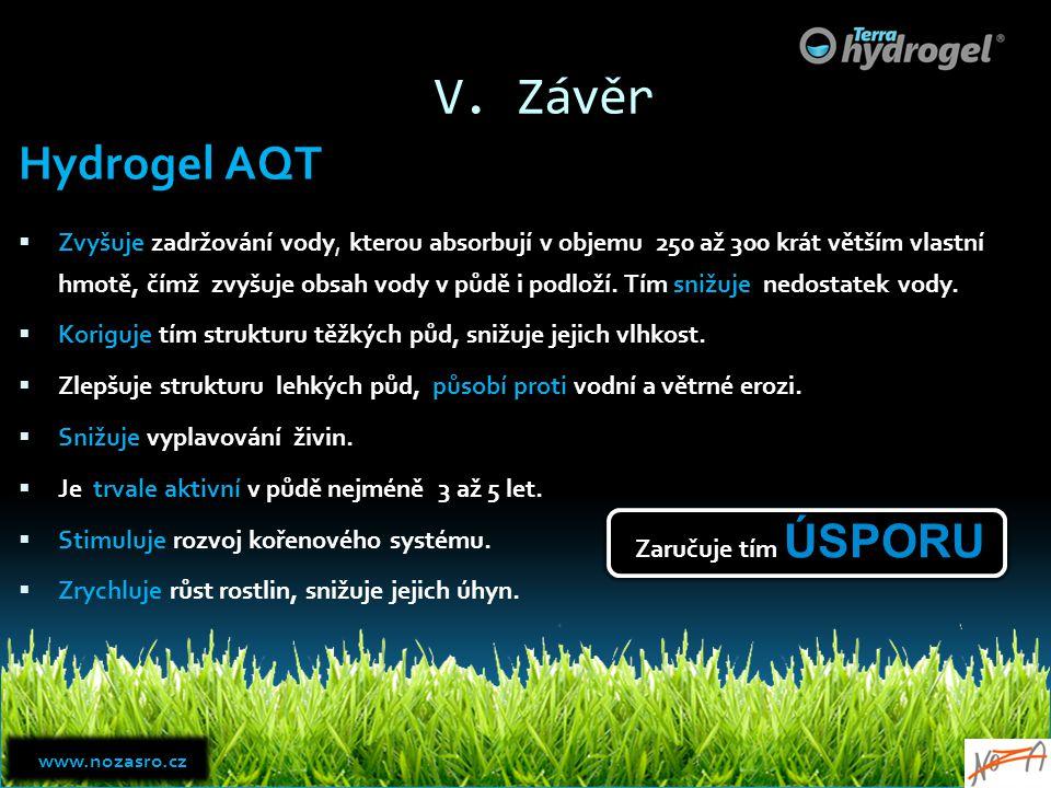 V. Závěr Hydrogel AQT.