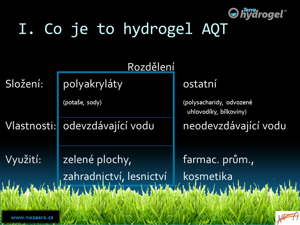 I. Co je to hydrogel AQT