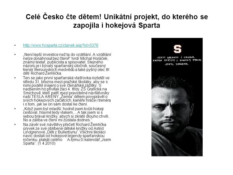 Celé Česko čte dětem! Unikátní projekt, do kterého se zapojila i hokejová Sparta
