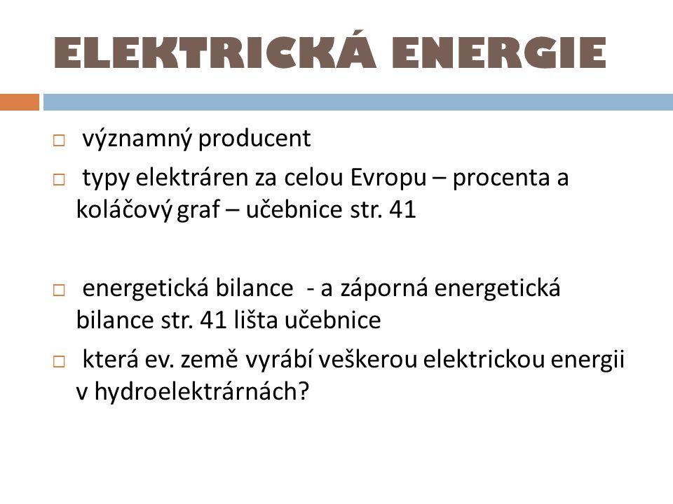 ELEKTRICKÁ ENERGIE významný producent