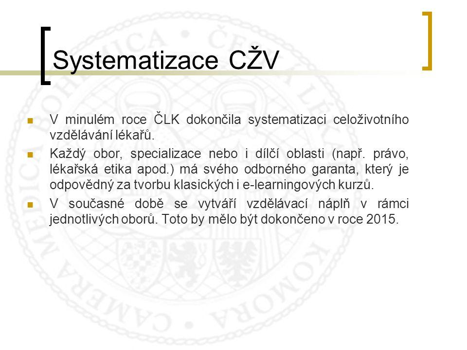 Systematizace CŽV V minulém roce ČLK dokončila systematizaci celoživotního vzdělávání lékařů.